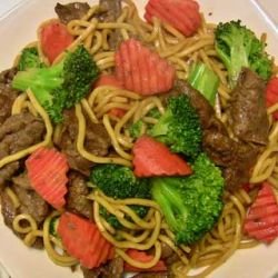 Beef teriyaki with yakisoba noodles