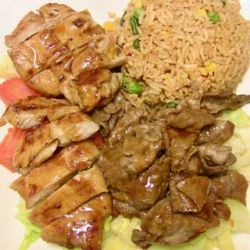 Chicken and beef teriyaki combo